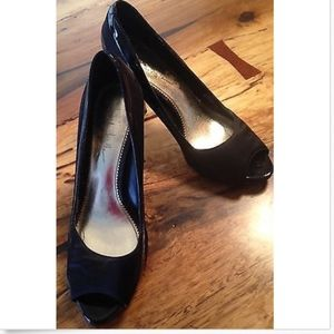 NICOLE MILLER NY black peep toe pumps 7 1/2B